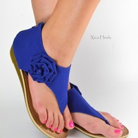 Womens Flower Wedge Sandals Shoes T Strap Thong Faux Suede Zipper New