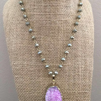Purple Druzy Gold Pendant and Gray Colored Crystal Beaded Chain Necklace
