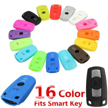 16 Color Silicone 2 Button Smart Remote Key Case Fob Cover For BMW X1 X5 X6 W Confort Access M3 M5