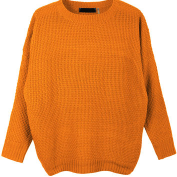 LE3NO Womens Round Neck Dolman Sleeve Knit Pullover Sweater (CLEARANCE)