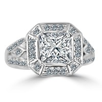 2.5 CT.(8.5x8.5mm) Intensely Radiant Square Diamond Veneer Cubic Zirconia with Side Marquies Antique Style Set in Sterling Silver Ring. 635R12550