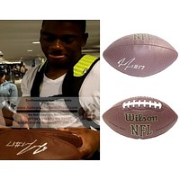 Devin Funchess Autographed NFL Wilson Football, Green Bay Packers, Proof Photo