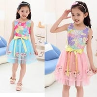 Girls dress new summer Floral Casual chiffon lace mesh Sleeveless dress hot sweet flower slim embroidery round collar fashion princess dres
