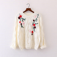 Crochet embroidered flowers Floral Daisy pullover long sleeve sweater mori girl
