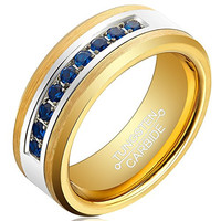 8mm 18k Gold Tungsten Men Ring Gold Plated Blue Cubic Zirconia Inlay Unisex Wedding Band