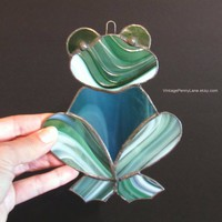 Vintage Frog Sun Catcher, Handmade Window Decor, Kitchen Window, Stained Glass Frog