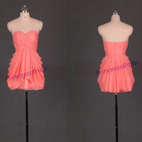 Short coral chiffon bridesmaid dresses in 2014,custom colors sweetheart bridesmaid gowns,simple dress for wedding party,homecoming dresses.