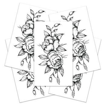 Black Roses Temporary Tattoos Large Set