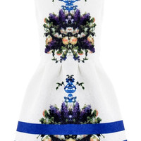 White Floral Sleeveless Pleated Mini Dress
