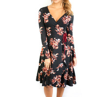 Keystone Black & Red Floral Wrap Dress