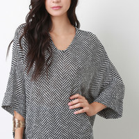 Marled Knit Chevron Loose Fit Dolman Sleeves Top