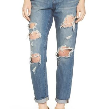 Articles of Society Janis Destroyed Boyfriend Jeans (Fisk)   Nordstrom