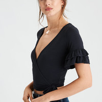 AE Soft & Sexy Wrap Front Ruffle Sleeve T-Shirt, Black