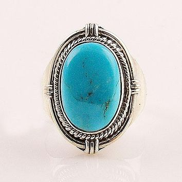 Blue Turquoise Oval Sterling Silver Ring