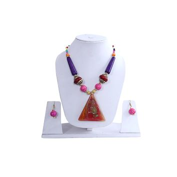 """Beach, Chunky, 15"""" Necklace Set with Crystal Orangered Pendent , Amber Seeded Beads Hoop Earrings"""