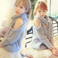 Japanese cute dew shoulder sweater