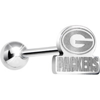 Officially Licensed NFL Cut Out Green Bay Packers Barbell Tongue Ring