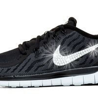 Nike Free 5.0 Running Shoes Hand Customized By Glitter Kicks - Black/Grey