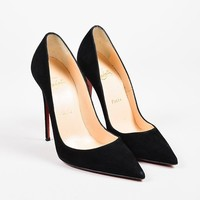DCCK2 Christian Louboutin Black Suede Pointed Toe Stiletto   So Kate   Pumps