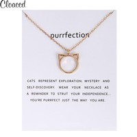 Cloaccd Fashion Gold Color Purrfection Cat Ear Pendant Long Chain Necklace for Women Christmas Birthday Gifts With Card