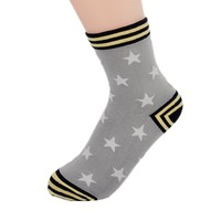 FunShop Woman's Stars and Stripes Pattern Cotton Ankel Socks Grey D1117