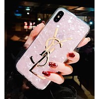 YSL New Stylish Women Chic Shell Silicone Mobile Phone Cover Case For iphone 6 6s 6plus 6s-plus 7 7plus iPhone 8 8 Plus iPhone X Pink I13850-1
