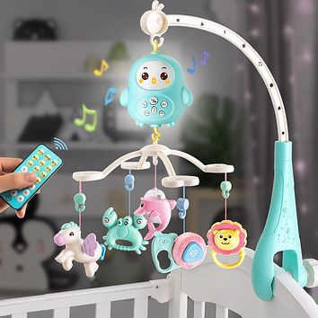 Baby Rattles Crib Mobiles Baby Toys Holder Rotating Mobile Bed Bell Musical Box Projection 0-12 Months Newborn Infant Boy Toys