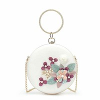 Round Banquet Party Bag With Hasp Lock Women Bag Day Clutches Ladies Wedding Hand Bag Tote Purse With 3D Flower