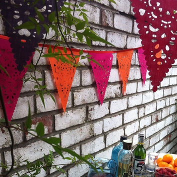 Wedding garland, pink and orange, bunting for bridal shower