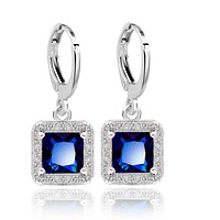 Regal Princess Cut Halo Swiss CZ Drop Hoop Earrings
