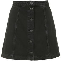 MOTO Denim Button Front A-Line Skirt - Black