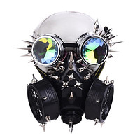 Studded Full Face Respirator Gas Mask with Rivet Goggles