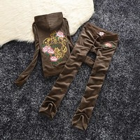 Juicy Couture Studded Flowers Velour Tracksuit 6017 2pcs Women Suits Coffee