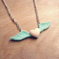 Pastel Winged Heart Necklace