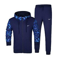NIKE Hooded Cardigan Jacket Coat Pants Trousers Set Two-Piece Sportswear