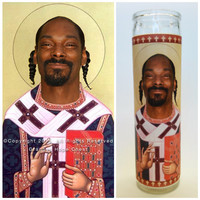 "Snoop Dogg Prayer Candle. Saint Snoop! Great Gift! 3 Colors Available! 9"" Tall."