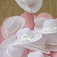 Vintage White Flocked Cowboy Hats - Party Favor/Craft Accessory