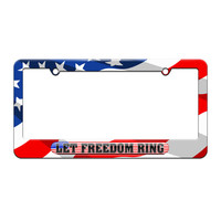 Let Freedom Ring - USA Country Flag - License Plate Tag Frame - American Flag Design