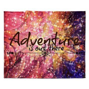 """Ebi Emporium """"Adventure is Out There"""" Pink Typography Fleece Throw Blanket"""