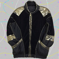 Flashy 80s EAST WEST Color Block Windbreaker / Retro Old School Hip Hop Jacket / Glam Shiny Metallic Gold Black Velour / Braided Chord Trim