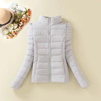 Stand Collar Zippered Winter Coat