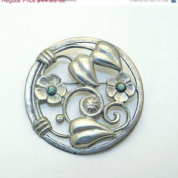 Sterling and Turquoise Flower Brooch from Mexico - Vintage Pre-eagle