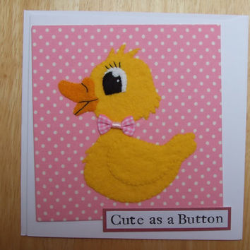 Handmade As Cute As A Button Baby Duckling Cards
