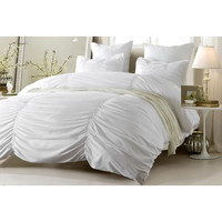 Ruched Design White Bedding Set-Includes Comforter & Duvet Cover - Style # 1005 C - Cherry Hill Collection in King/Cal King Size