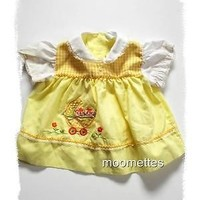 Vintage Cradle Togs Embroidered Dress Yellow Gingham Girls 6 9 mo Easter Spring