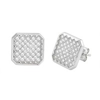 Micropave Stud Earrings Sterling Silver Cubic Zirconia Criss Cross Design 11mm