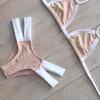 Nude And White Contrast Triangle Strappy Bikini Set