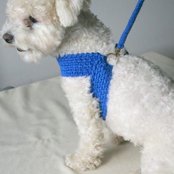 Friendly harness with matching leash, Dog cotton harness \\ Pets - Small dogs harnesses