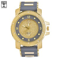 Jewelry Kay style Men's Iced Out 14K Gold Plated Silicone Band Techno Pave Heavy Watch WR 7758 GGR