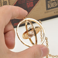 Harry Potter Time Turner Necklace Hermione Granger Rotating Spins Gold Hourglass (Size: 18 in, Color: Gold) = 5987811649